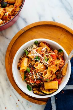 Pasta alla Norma is a saucy eggplant pasta dish from Sicily. This recipe features roasted eggplant—not fried—and it's a satisfying weeknight dinner! #vegetarian #pastaallanorma #pasta #eggplant #fall #sicily #cookieandkate Eggplant Pasta, Roast Eggplant, Eggplant Recipes, Veggie Recipes, Vegetarian Recipes, Healthy Recipes, Veggie Dinners, Weekly Recipes, Vegetarian Dinners