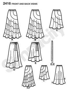 simplicty 2416 | Simplicity 2416 Misses / Plus Size Skirts Line Drawing