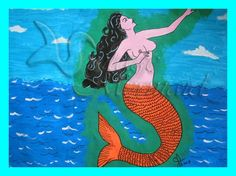 Mexican Art Folklore Mermaid Painting Fabric Cotton Quilt Block 5x7