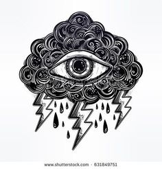 Vintage style traditional tattoo flash Eye of Providencein the cloud. All seeing eye with lightning. Magic, spirituality, occultism concept. Old school ink artwork. Isolated vector illustration.