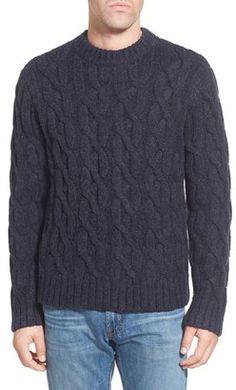 Shop Now - >  https://api.shopstyle.com/action/apiVisitRetailer?id=499175319&pid=uid6996-25233114-59 Men's Schott Nyc Regular Fit Cable Knit Crewneck Wool Blend Sweater  ...