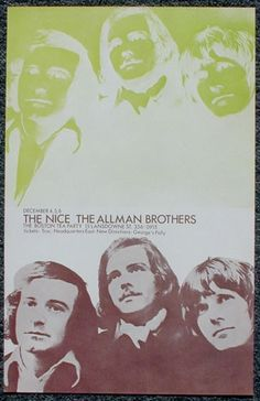 The Nice, Allman Brothers - Boston Tea Party Concert Poster Festival Posters, Concert Posters, Music Posters, Greg Lake, Boston Tea, Psychedelic Music, Allman Brothers, Rock Artists, Rock And Roll Bands