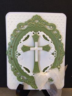 Spellbinders Crosses 2, Marianne Petra's Large Oval dies, Swiss Dots embossing folder, Liquid Pearls, ribbon