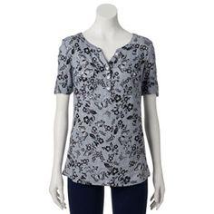Croft & Barrow® Dobby Plaid Roll-Tab Shirt - Women's