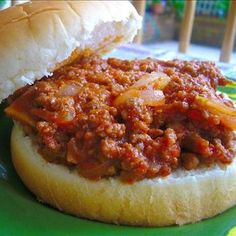 My Family's Favorite Sloppy Joes (Pizza Joes) Recipe: 1 lb ground beef, 2-3 stalks celery, 1 small onion chopped, 1-8oz can tomato sauce, 1/4 cup ketchup, 1/4 cup barbecue sauce (your favorite we use Open Pit), 1 tbsp firmly packed brown sugar, 1 tsp dry mustard, salt and pepper, 1 tbsp worcestershire sauce, 1 tbsp vinegar.