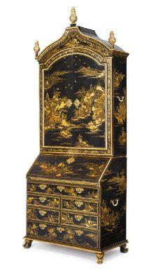 A fine Chinese Export parcel-gilt black lacquer bureau bookcase cabinet circa 1735