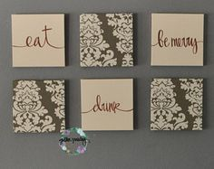 Eat Drink & Be Merry Wall Art Pack of 6 Canvas Wall Hangings