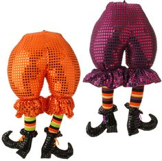 RAZ Witch Butt with Legs - Assorted 2 Assorted styles Orange, Purple (fuchsia), Black Priced individually Made of Polyester Measures X RAZ Exclusive Whimsical stuffed witch Whimsical Halloween, Cute Halloween, Halloween Decorations, Halloween Wreaths, Halloween Witches, Halloween Stuff, Christmas Wreaths, Witch Boots, Witch Legs
