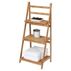 """With 3 slatted bamboo shelves, this eco-friendly ladder design is the perfect spot to stow fluffy towels and a basket of guest-worthy soaps.  Product: Ladder shelfConstruction Material: 100% Bamboo  Features: Three shelvesEco-friendlyDimensions: 40"""" H x 18"""" W x 13"""" D"""