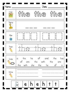 Literacy Center Word Work: Printables for Fry's List of Si
