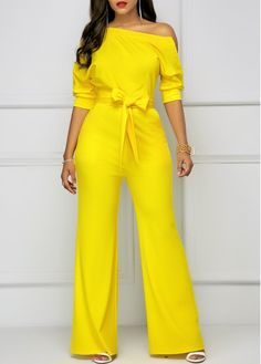 Belted Half Sleeve Skew Neck Yellow Jumpsuit | Rosewe.com - USD $34.88