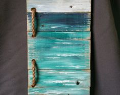 Reclaimed Wood Pallet Art, Hand painted seascape with BEACH wording, Beach, Cottage, upcycled, Wall art, Distressed, Shabby Chic  Acrylic