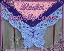 Butterfly Corner for a Blanket Border Looking for your next project? You're going to love Butterfly Corner for a Blanket Border by designer Ashley Bower. Picot Crochet, Manta Crochet, Crochet Trim, Love Crochet, Crochet Motif, Crochet Stitches, Crochet Afghans, Crochet Blanket Border, Crochet Boarders