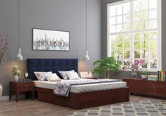 Buy Wagner Upholstered Bed With Side Storage (Queen Size, Warm Grey) Online in India - Wooden Street Tufted Headboards, Upholstered Beds, Bedroom Furniture, Home Furniture, Furniture Ideas, Framed Fabric, Fabric Frame, Wooden Street, Cozy Place
