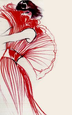 A friend of mine used this picture for her master copy assignment. The way the artist handles the pleats on the dress to create that sense of fluidity is wonderful. That along with the general sense of mystery it evokes makes it a wonderful piece. Fashion illustration - UK Vogue, 1973.