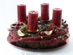 "- a unique product by Mei. Wreaths – Advent Wreath ""Classic Modern Advent 3 & … – a unique product by Meissner-Florist Advent Wreath Prayers, Christmas Advent Wreath, Christmas Decorations, Country Christmas, Christmas Home, Xmas, How To Make Wreaths, Candle Holders, Creations"
