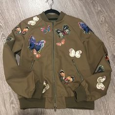 Valentino embroidered butterfly bomber jacket INSANE Valentino butterfly embroidered bomber jacket. Valentino is one of the hottest designers! I wore this jacket once and sadly it doesn't fit me anymore. a one of a kind piece! Valentino Jackets & Coats