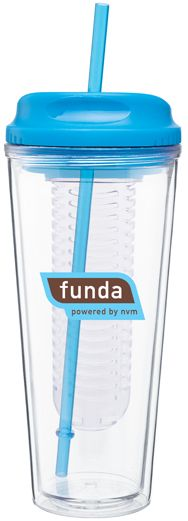 20 oz acrylic double wall tumbler with fruit infuser threaded H/C lid and matching straw for hot or cold beverages - patent pending.  Starts at $8.99