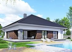 APS 401 - zdjęcie 2 Modern Family House, Modern Bungalow House, New Home Designs, Home Design Plans, Plans Architecture, Architecture Design, Three Bedroom House Plan, My House Plans, Design Case