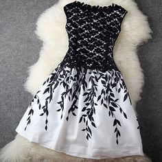 Leaf Print Sleeveless Crochet Lace Slinky Skater Dress [grxjy560924]