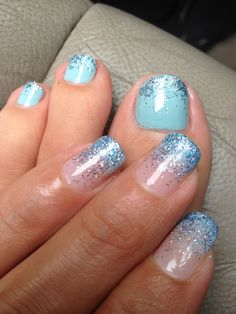 Blue toe nails glitter fade mix of silver light blue and purple...gelish blue faded tips with same combo glitter fade...loving it from Royal Nails Kapolei...ask for Tina she rocks!