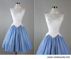 Vintage illusion eyelet cotton garden party dress