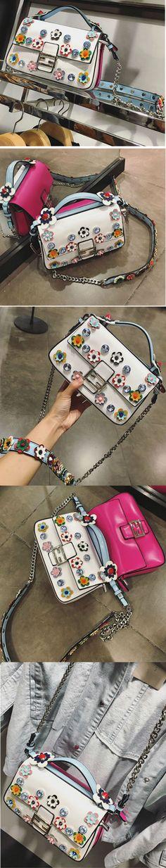 Mini Bag, handbag applique brooch Camelia, bag Decor flowers, fashion handbag