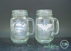 Super Hero Super Man Wonder Woman Mason Jar Glasses - Engraved Mason Jars - Wedding Glasses - Toasting Flutes on Etsy, $20.00