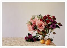 pink, purple and deep red flower arrangement by http://rachelmercier.com, photo by http://www.torywilliams.com
