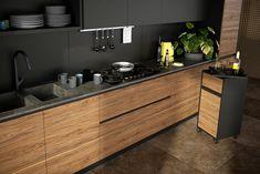 Prezentujemy kuchnię nowoczesną z czarnym akcentem. Fronty fornirowane w orzechu naturalnym ON 32 z czarnym uchwytem krawędziowymi TUX45 Plus kolor. Kuchnia wykończona w macie, włącznie z wewnętrznymi czarnymi frontami lakierowanymi. Modern Kitchens, Double Vanity, Bathroom, Washroom, Contemporary Kitchens, Full Bath, Bath, Bathrooms, Double Sink Vanity