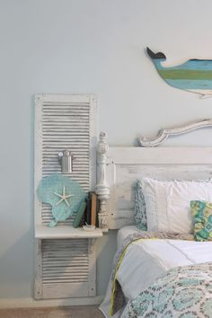 Shabby Chic Decor and Bedding Ideas - Antique Door Headboard Shutter - Rustic and Romantic Vintage Bedroom, Living Room and Kitchen Country Cottage Furniture and Home Decor Ideas. Step by Step Tutorials and Instructions http://diyjoy.com/diy-shabby-chic-decor-bedding #rusticbedding