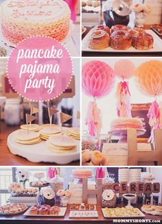 """Harlow's first birthday pancake and pajama party- check out all the awesome decor and food (including CRONUTS!) designed by Little Miss Party; plus there's a giveaway of a customized """"Party in a Box"""", theme is whatever you can dream up!"""