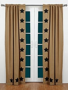 Add a charming accent with our Burlap Natural Stencil Star panel curtains. These curtains coordinate with bedding and decor at Primitive Star Quilt Shop.