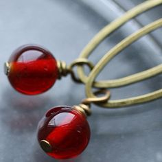Berry Dangle Earrings with Vintage Glass Beads by WishByFelicity,