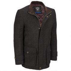 Wool Pea Coat With Leather Shoulder Details | Mens Wool Pea Coat