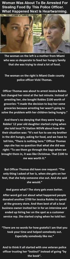 Mother nearly arrested for stealing food for her family-the police woman buys groceries instead