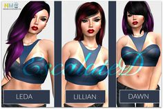 Escalated Hair Second Life VIP Group Gifts. One gift is the Leda hair, the second is the Lillian hair and the new gift is the Dawn hair in three colors. Vip Group, Second Life, Hair Hacks, Free Gifts, Letters, Corporate Gifts, Fonts, Letter
