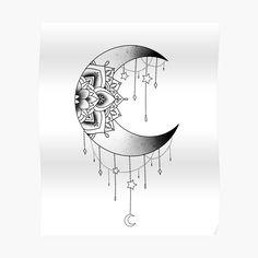 Luna Tattoo, Bestie Tattoo, Gold Tattoo, Cat Tattoo, Sketch Tattoo Design, Moon Tattoo Designs, Henna Tattoo Designs, Mandala Hip Tattoo, Moon Mandala