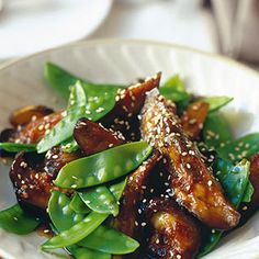 Japanese Aubergine with Mangetout