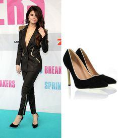 Selena Gomez Pointed Toe Black Shoes