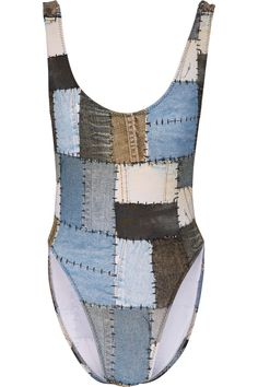 NORMA KAMALI Marissa printed patchwork denim-effect swimsuit  $200.00 https://www.net-a-porter.com/product/678271