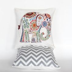 "Paisley Elephant With Grey Chevron Backing  Fun 12""x12"" pillow cover with Bohemian flair. Paisley elephant applique with grey chevron back."