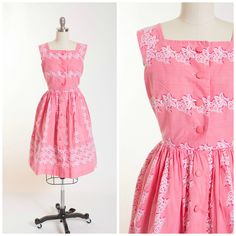 Vintage 1950s Dress Pink Printed Cotton 50s Vintage Shirt Dress with Full Skirt Size Small by stutterinmama on Etsy