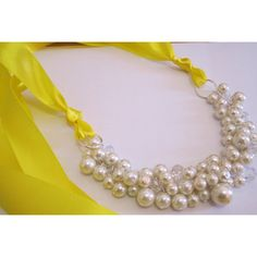 Ivory Pearl Necklace, Pearl Cluster Necklace, Bridesmaid Necklace,... (30 CAD) ❤ liked on Polyvore featuring jewelry, necklaces, yellow pearl necklace, pearl necklace, chunky necklaces, ivory jewelry and ribbon tie necklace