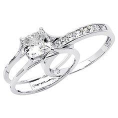 14k White Gold 1 3/4ct TGW Princess-cut Diamonette Cubic Zirconia Engagement Ring