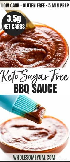 Low Carb Sugar-Free BBQ Sauce Recipe – Keto & Gluten-Free This keto low carb BBQ sauce recipe is sweet, smoky, spicy & tangy in one. If you want a super easy, sugar-free barbecue sauce that tastes delicious, this is it. Only 5 minutes prep time! Sugar Free Bbq Sauce Recipe, Sugar Free Barbecue Sauce, Keto Bbq Sauce, Keto Sauces, Barbecue Sauce Recipes, Low Carb Sauces, Sugar Free Recipes, Low Carb Recipes, Bbq Sauces
