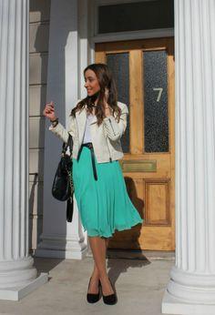 Midi Skirt  #fashion #style #outfit  , Primark en Faldas, Zara en Tacones / Plataformas, Bimba & Lola en Bolsos, Topshop en Chaquetas, Bimba & Lola en Otras joyas / Bisutería, Mango en Otras joyas / Bisutería