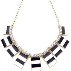 "Nautical Strip Necklace Beautiful navy and white nautical strip necklace. 18K gold plated base metalsglass crystalsnickel and lead freelength 15"" extends to 20"" PRICE FIRM - NO TRADES T&J Designs Jewelry Necklaces"