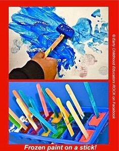 Frozen paint on a stick!!! Embrace the cold with chilly ice paint! Kids love to swirl the melting paint over paper, creating beautiful designs. They'll practice their color recognition and counting skills while observing paint go from a liquid state to a solid state, then back to liquid again.  GREAT for students with special learning needs.  Read more at:  http://www.education.com/activity/article/paint-with-ice/