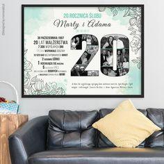 Plakat na rocznicę ślubu ze zdjęciami - miętowy    #walentynki #love #wedding #rocznica #valentinesday #anniversary #memorabli #handmade #plakaty #poster #nasciane #dekoracjapokoju #maż #żona #certyfikat Frame, Diy, Ideas, Amor, Bricolage, A Frame, Frames, Thoughts, Hoop